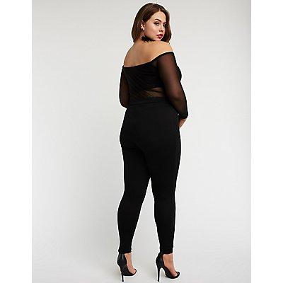 Plus Size Off The Shoulder Mesh Jumpsuit