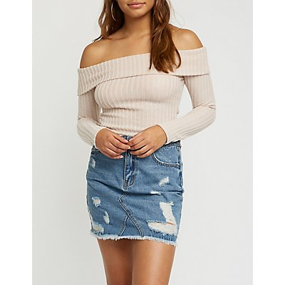 Off The Shoulder Ribbed Top