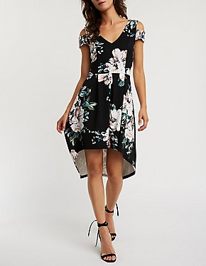 Floral Cold Shoulder Hi Low Dress