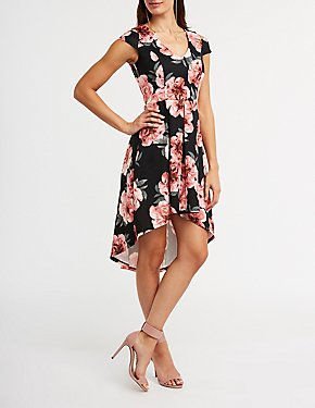 Cold Shoulder Floral Hi Low Dress