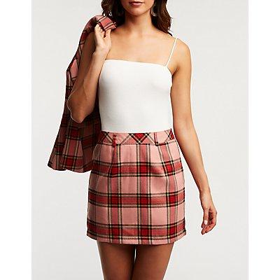 Plaid A Line Skirt