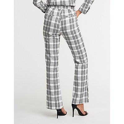 Plaid Flare Trousers