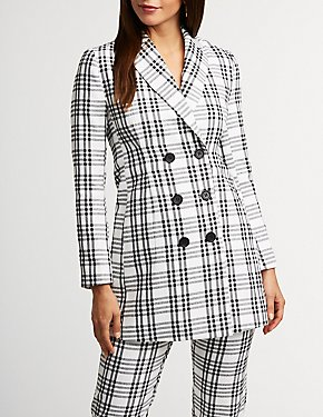 Plaid Double Breasted Longline Blazer
