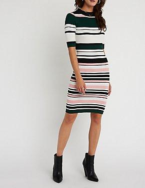 Striped Ribbed Midi Dress