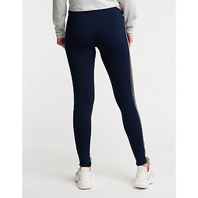 Faux Leather Side Stripe High Waist Leggings