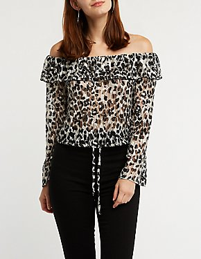 Off The Shoulder Leopard Top