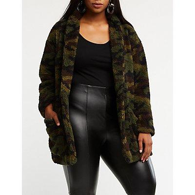 Plus Size Camo Open Front Jacket