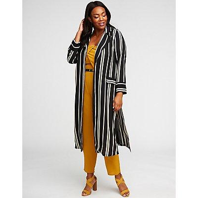 Plus Size Striped Longline Kimono