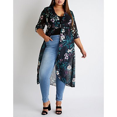 Plus Size Floral High Low Button Up Top
