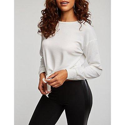 Tie Front Pullover Sweatshirt