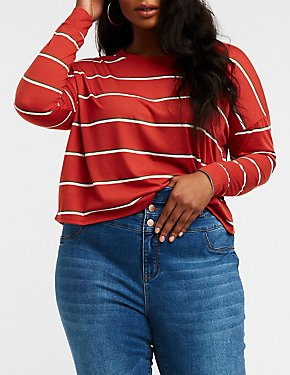 Plus Size Striped Crop Top