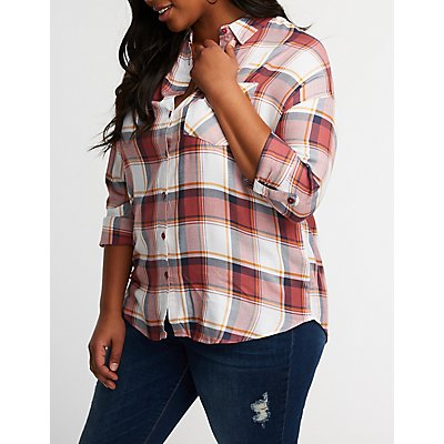 Plus Size Plaid Button Up Top