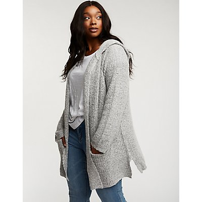 Plus Size Open Front Hooded Cardigan