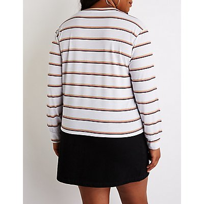 Plus Size Striped Crew Neck Top