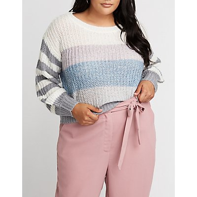 Plus Size Striped Pullover Sweater