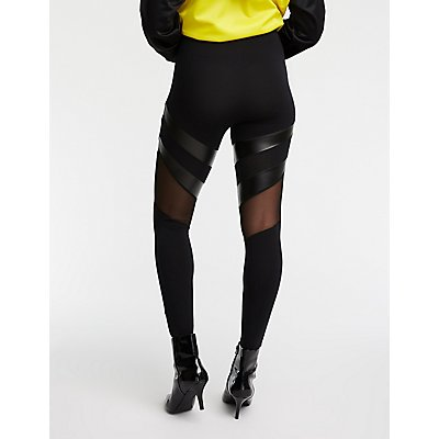 Faux Leather & Mesh Inset Leggings