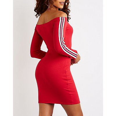 Side Striped Off The Shoulder Bodycon Dress