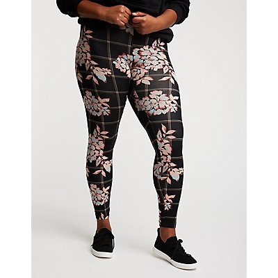 Plus Size Floral Printed Leggings