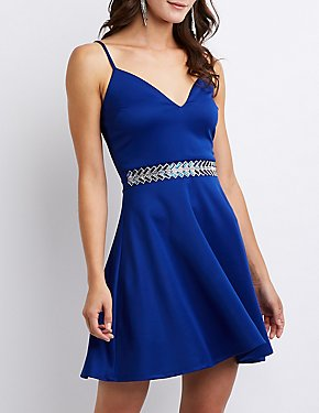 Crystal Embellished Skater Dress