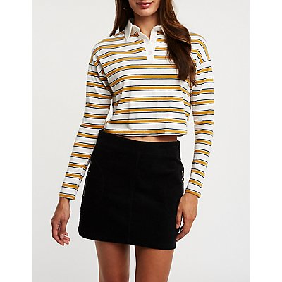 Striped Polo Cropped Top