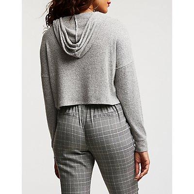 Ribbed Knit Crop Hoodie