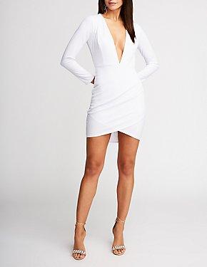 Deep V Neck Bodycon Dress