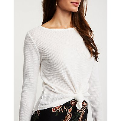 Front Tie Waffle Knit Top
