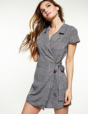 Houndstooth Wrap Romper