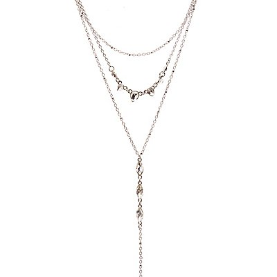 Crystal Layered Lariat Necklace
