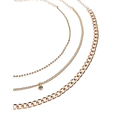 Crystal & Chain Choker Necklace
