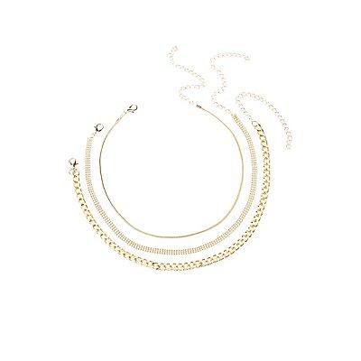 Trio Chain Choker Necklace