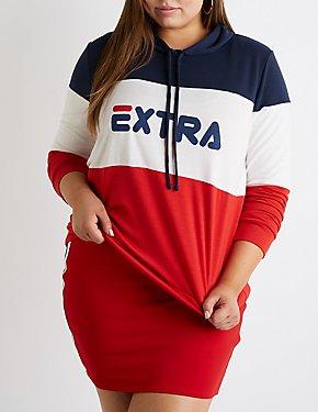 Plus Size Extra Colorblock Hoodie