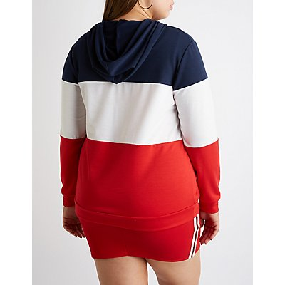 Plus Size Extra Colorblock Hoodie