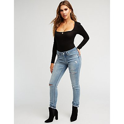 Refuge Mid Rise Distressed Skinny Jeans