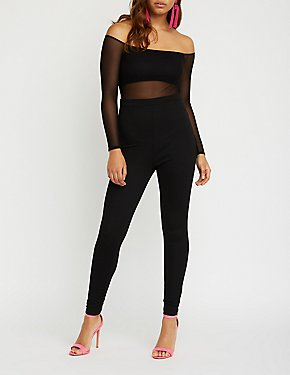 Mesh Detailed Skinny Leg Jumpsuit