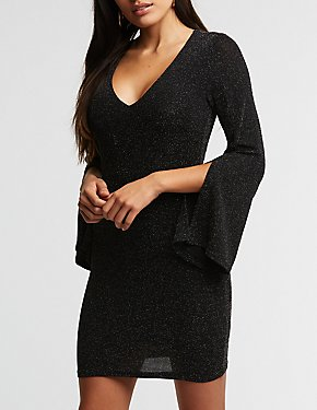Glitter V Neck Bodycon Dress