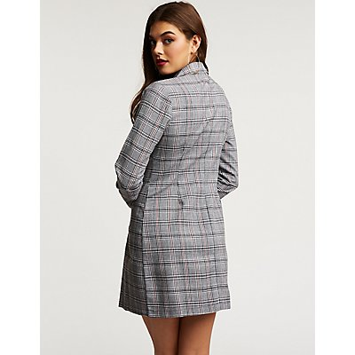Plaid Double Breasted Blazer Dress