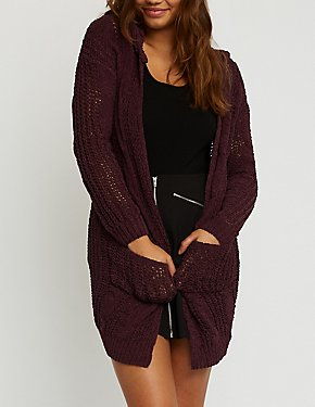 Chenille Open Front Hooded Cardigan