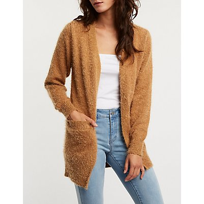 Fuzzy Open Front Cardigan