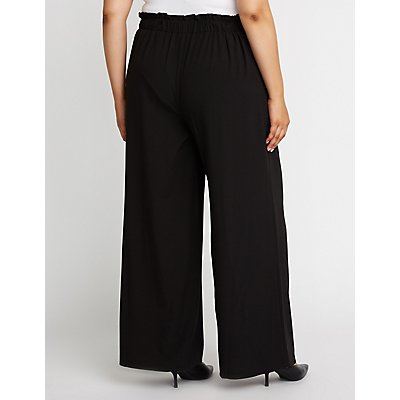 Plus Size Side Tie Palazzo Pants
