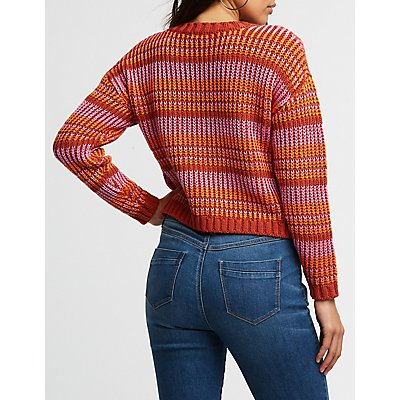Multicolor Knit Crop Sweater