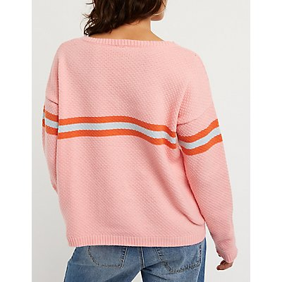 V Neck Chest Striped Pullover Sweater