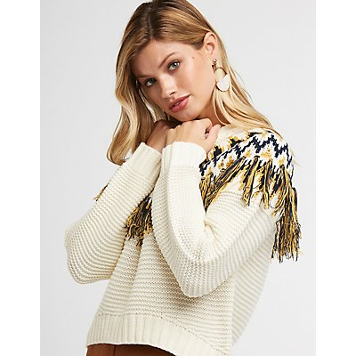 Fringe Cropped Sweater