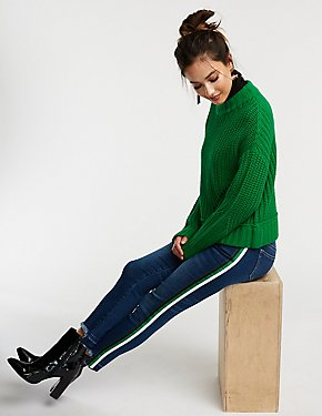 Side Striped Skinny Jeans