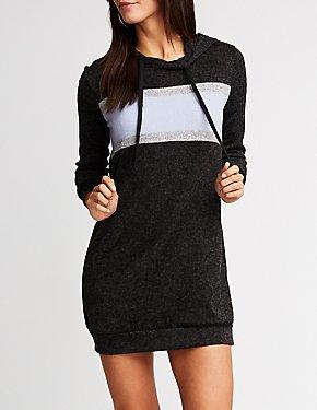 Striped Hooded Sweatshirt Dress