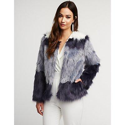 Ombre Faux Fur Jacket