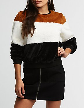 Faux Fur Color Block Pullover Sweater