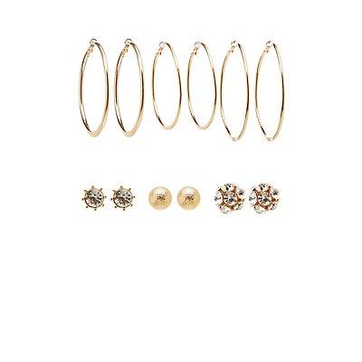 Stud & Hoop Earrings - 6 Pack