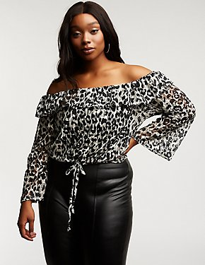 Plus Size Off The Shoulder Leopard Top