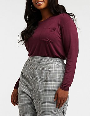 Plus Size Slouchy Pocket Tee